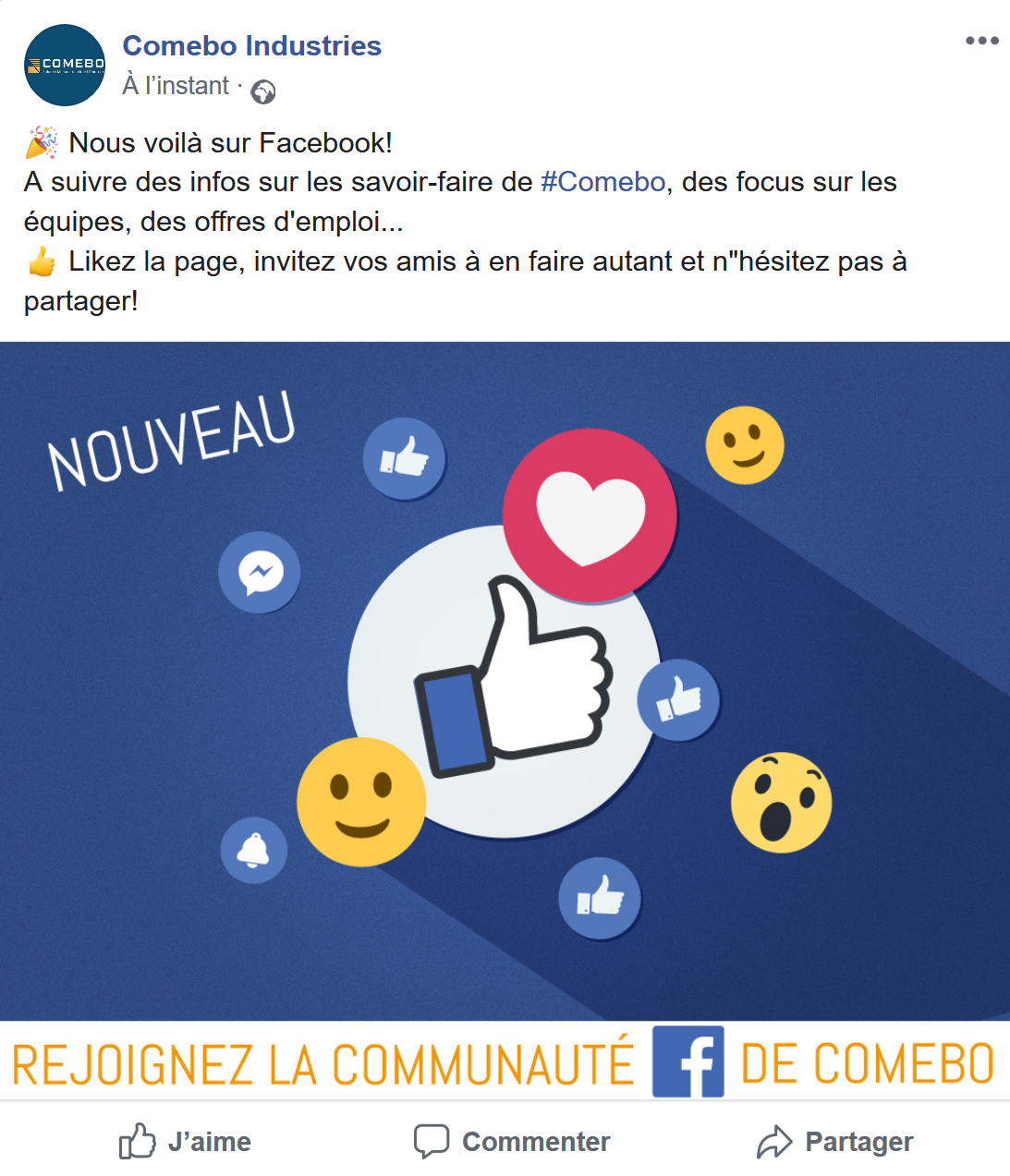 comebo mot accueil ouverture page facebook